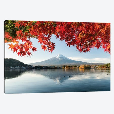 Autumn Leaves With Mount Fuji At Lake Kawaguchiko Canvas Print #JNB209} by Jan Becke Art Print