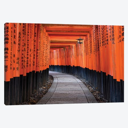 Red Torii Gates Of The Fushimi Inari Shrine In Kyoto, Japan Canvas Print #JNB225} by Jan Becke Canvas Art