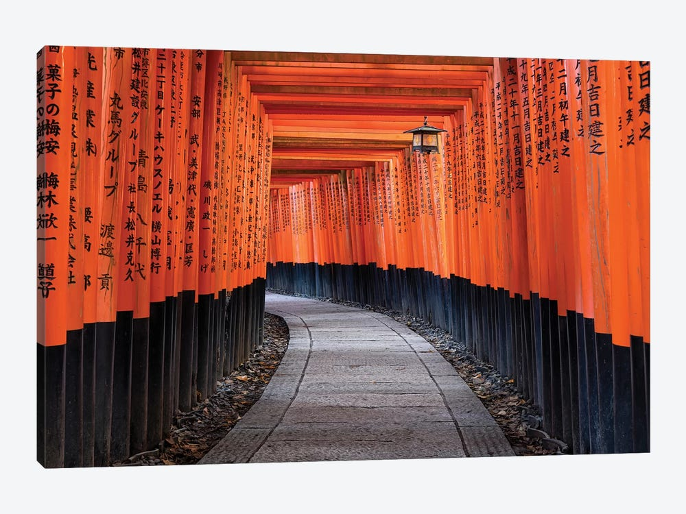 Red Torii Gates Of The Fushimi Inari Shrine In Kyoto, Japan by Jan Becke 1-piece Canvas Art Print