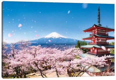 Chureito Pagoda In Spring Canvas Art Print