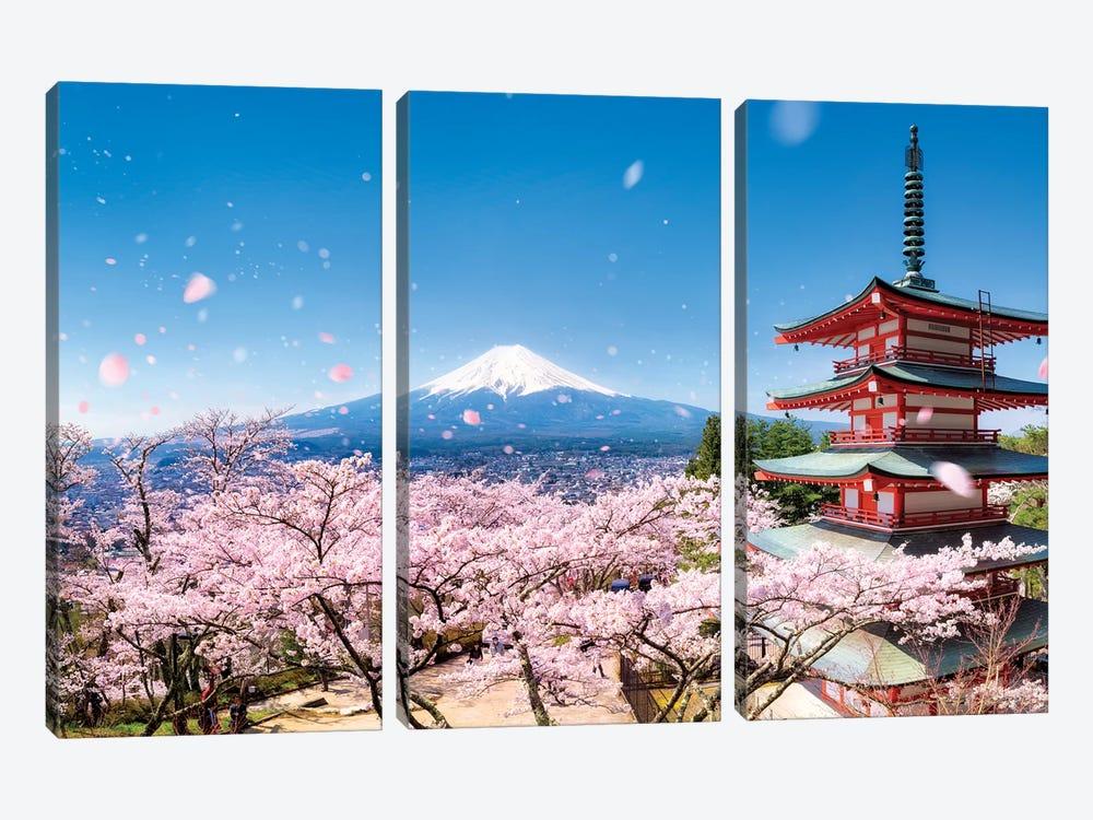 Chureito Pagoda In Spring by Jan Becke 3-piece Canvas Print