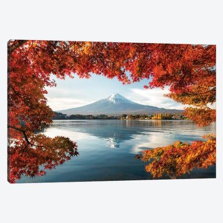 Mount Fuji At Lake Kawaguchiko During Autumn Season Canvas Print #JNB232} by Jan Becke Canvas Art