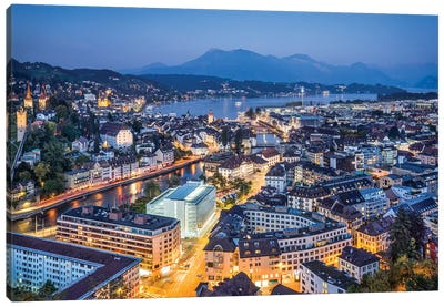 Aerial View Of Lucerne At Night Canvas Art Print