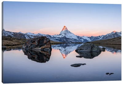 Panoramic View Of Stellisee And Matterhorn At Sunrise Canvas Art Print