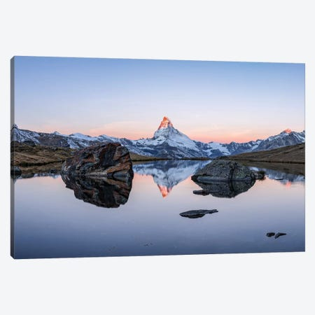 Panoramic View Of Stellisee And Matterhorn At Sunrise Canvas Print #JNB234} by Jan Becke Canvas Print