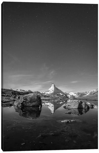 Stellisee And Matterhorn In Black And White Canvas Art Print