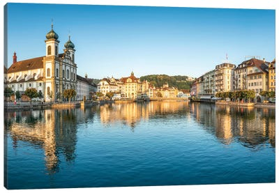 Jesuit Church In The Old Town Of Lucerne Canvas Art Print
