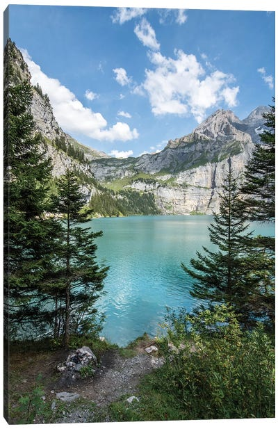 Oeschinen Lake In The Swiss Alps Canvas Art Print