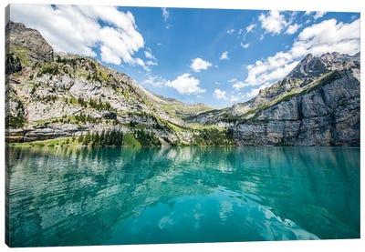 Blue Glacier Water At The Oeschinen Lake In Switzerland Canvas Art Print