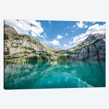 Blue Glacier Water At The Oeschinen Lake In Switzerland 3-Piece Canvas #JNB241} by Jan Becke Canvas Print