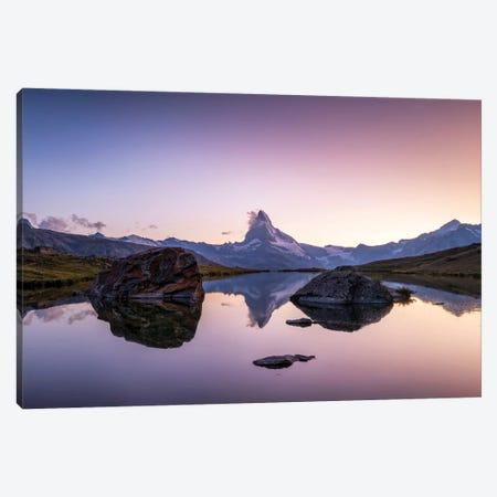 Matterhorn Mountain Reflection In The Stellisee 3-Piece Canvas #JNB242} by Jan Becke Art Print