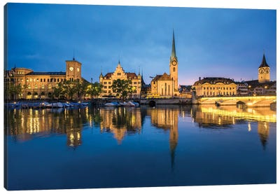 Old Town Of Zurich At Night Canvas Art Print