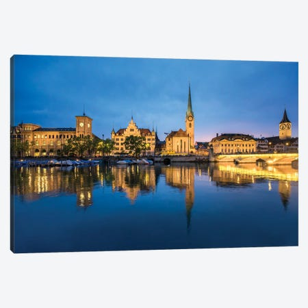 Old Town Of Zurich At Night Canvas Print #JNB246} by Jan Becke Canvas Art