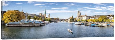 Panoramic View Of Zurich In Autumn Season Canvas Art Print