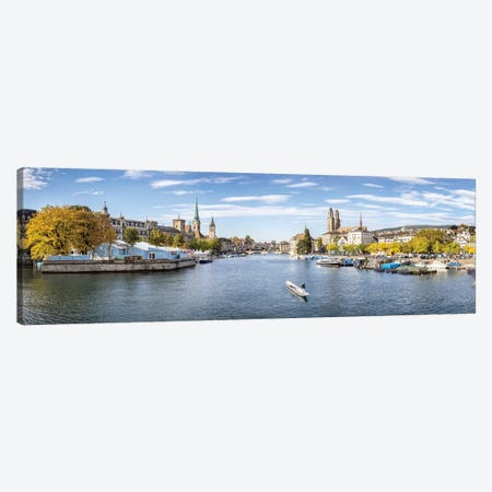 Panoramic View Of Zurich In Autumn Season 3-Piece Canvas #JNB248} by Jan Becke Canvas Print
