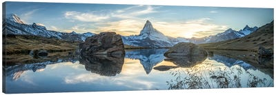 Scenic View Of The Matterhorn And Stellisee In The Swiss Alps Canvas Art Print