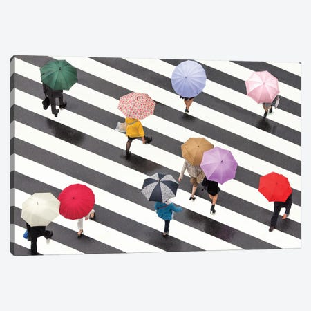 Colorful Umbrellas In Shibuya, Tokyo, Japan Canvas Print #JNB24} by Jan Becke Canvas Artwork