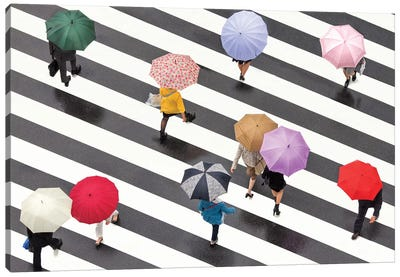Colorful Umbrellas In Shibuya, Tokyo, Japan Canvas Art Print
