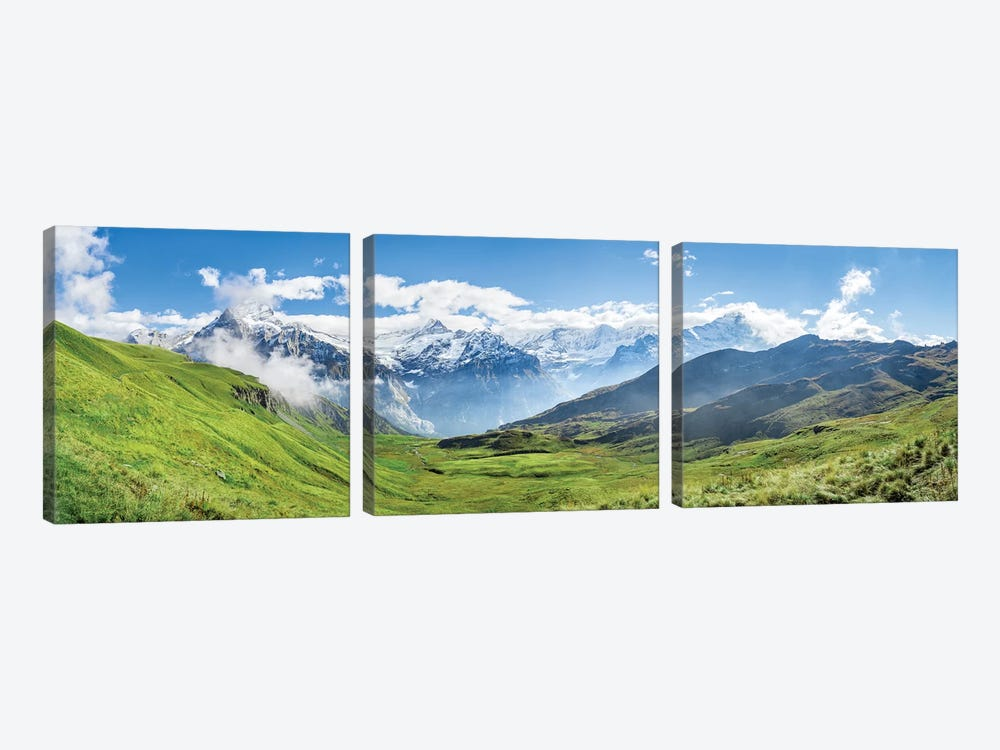 Scenic View Of The Alps Near Grindelwald by Jan Becke 3-piece Canvas Art