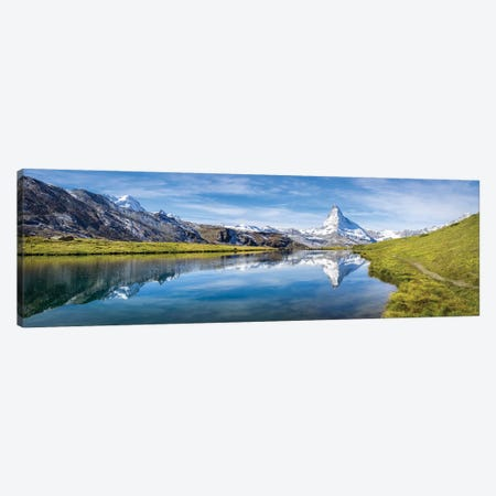 Panoramic View Of The Stellisee And Matterhorn In Switzerland Canvas Print #JNB254} by Jan Becke Canvas Print