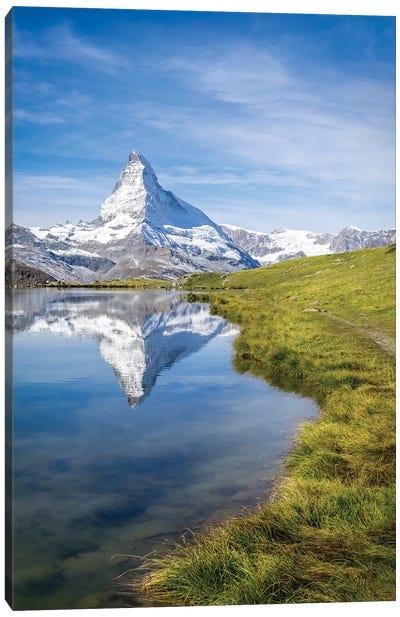 Stellisee And Matterhorn In Summer Canvas Art Print