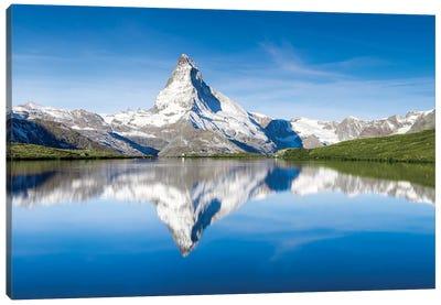 Peak Of The Matterhorn Mountain Reflected In The Stellisee Lake Canvas Art Print