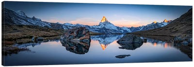 Panoramic View Of Stellisee And Matterhorn Canvas Art Print