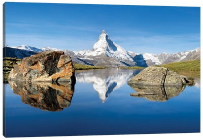 Matterhorn And Stellisee In Summer Canvas Art Print