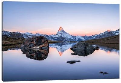 Matterhorn And Stellisee At Sunrise Canvas Art Print