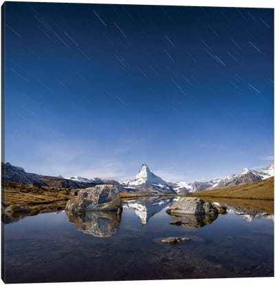 Matterhorn And Stellisee At Night Canvas Art Print