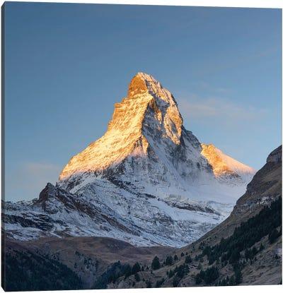 Peak Of The Matterhorn Mountain At Sunrise Canvas Art Print
