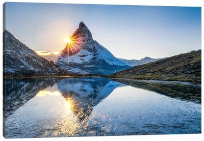 Riffelsee With Matterhorn Behind Canvas Art Print