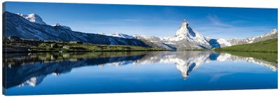 Panoramic View Of Stellisee And Matterhorn In Summer Canvas Art Print