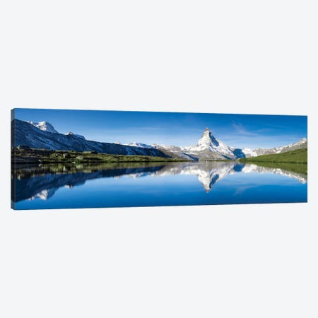 Panoramic View Of Stellisee And Matterhorn In Summer 3-Piece Canvas #JNB268} by Jan Becke Canvas Art Print