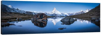 Panoramic View Of Stellisee And Matterhorn In Winter Canvas Art Print