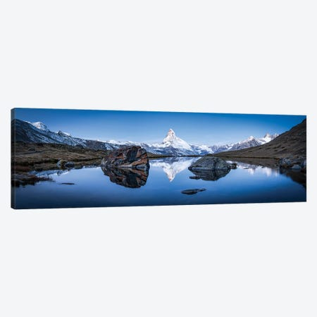 Panoramic View Of Stellisee And Matterhorn In Winter 3-Piece Canvas #JNB269} by Jan Becke Canvas Art Print