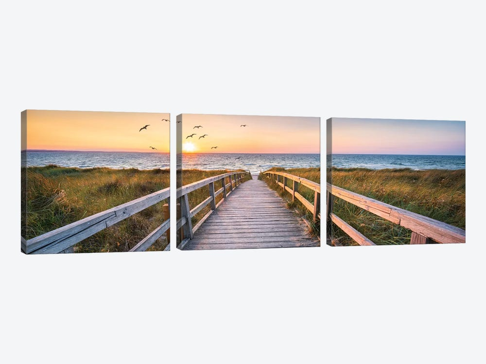 Dune Beach Panorama by Jan Becke 3-piece Canvas Art Print
