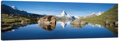 Scenic View Of Matterhorn And Stellisee In Summer Canvas Art Print