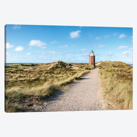 "Lighthouse Quermarkenfeuer ""Rotes Kliff"" On The Island Of Sylt Canvas Print #JNB272} by Jan Becke Canvas Art"