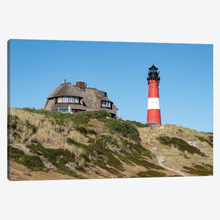 Lighthouse Hörnum And Traditional Thatched-Roof House On Sylt Canvas Print #JNB280} by Jan Becke Canvas Art Print
