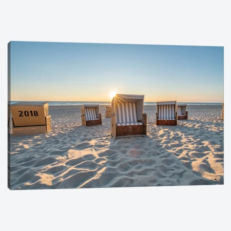 Traditional Roofed Wicker Beach Chairs At Sunset Canvas Print #JNB287} by Jan Becke Canvas Artwork