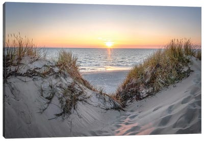 Sunset At The Dune Beach, North Sea, Sylt Canvas Art Print