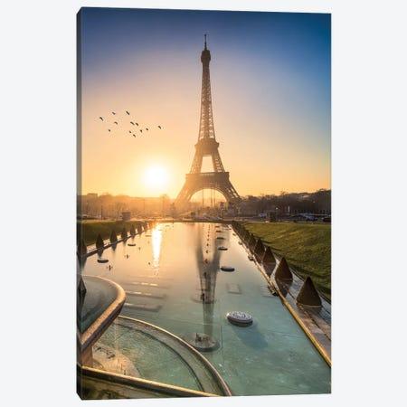 Eiffel Tower At Sunrise Canvas Print #JNB29} by Jan Becke Art Print