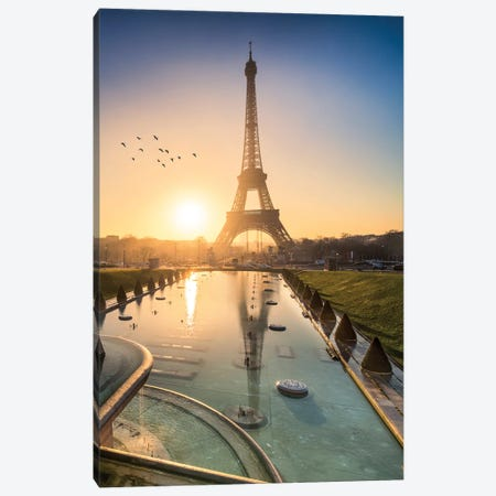 Eiffel Tower At Sunrise 3-Piece Canvas #JNB29} by Jan Becke Art Print