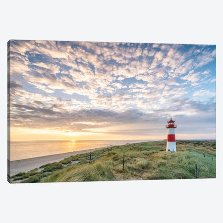 Sunrise At The Lighthouse List Ost On Sylt, Schleswig-Holstein, Germany Canvas Print #JNB309} by Jan Becke Canvas Art