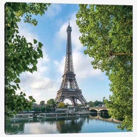 Eiffel Tower At The Banks Of The Seine In Spring 3-Piece Canvas #JNB30} by Jan Becke Canvas Wall Art