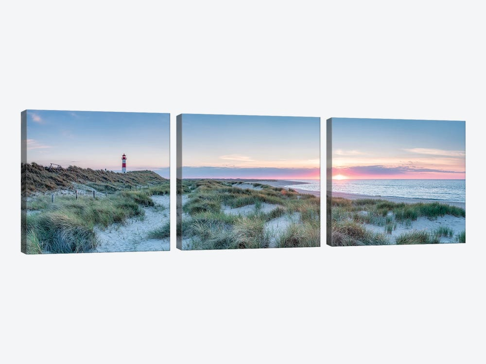 Sunset At The Dune Beach, Sylt, Schleswig-Holstein, Germany by Jan Becke 3-piece Canvas Wall Art