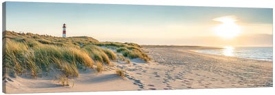 Sunset Panorama At The Dune Beach, Sylt, Schleswig-Holstein, Germany Canvas Art Print