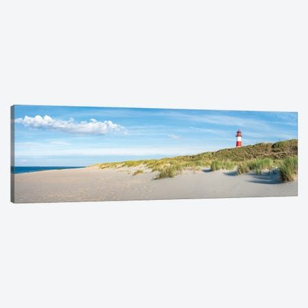 Panoramic View Of A Beach With Lighthouse, Sylt, Schleswig-Holstein, Germany Canvas Print #JNB325} by Jan Becke Art Print