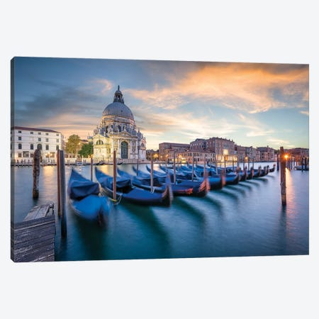 Gondolas In Front Of Santa Maria Della Salute Canvas Print #JNB36} by Jan Becke Canvas Print